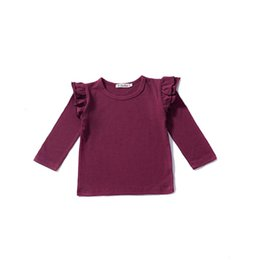 Girls solid brown t shirt online shopping - Girl Long Sleeves T shirt Kids Bottoming Shirt Round Collar Children Solid T shirt European and American Style