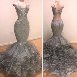 Silver Falls Australia - Sexy Silver Sequins Mermaid Prom Dresses 2019 New Straps Spaghetti Backless Cascading Tiered Ruffle Evening Party Gown Arabic BC1655
