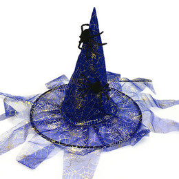 Funny purple costumes online shopping - Halloween Flowing Triangle Gauze Veil Spider Web Witch Wizard Hat Dance Party Activities Play a Sorcerer Dress Up Props Supplies Christmas