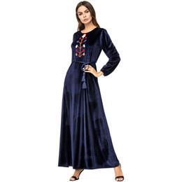 187239 Kaftans Ethnic Style Simple Embroidered Korean Cashmere Long Dress  Pakaian Wanita Islam Vestido De Mujer Musulmana moslemi Naiste e41599d938