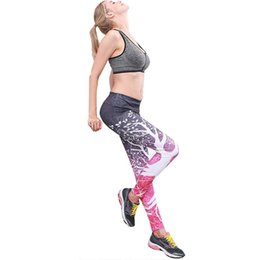 Print Sports Australia - Women Sports Yoga Pants Multicolor Tree Printed Casual High All Seasons Elastic Leggings Standard Pants Tight