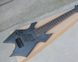 String Shaped Guitar Australia - Free ShippingFactory Unusual Shape Left Handed 8 Strings Matte Black Electric Bass Guitar,Basswood+Maple Body,Offer Customized