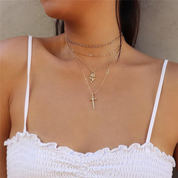 Rose Chains Australia - 2018 Trendy Bohemian Choker Necklace For Women Gold Color Link Chain Cross Rose Pendant Necklace Female Party Jewelry A0074