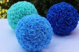 Hanging rose balls for weddings online shopping - Wedding Rose Ball Artificial Flower Ball Inch Inch for Wedding Garden Market Decoration Fake Silk Hanging Flower Ball
