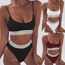 $enCountryForm.capitalKeyWord Australia - Two-Pieces Sexy Women Sequins Crystal Bikini Set Ladies Rhinestone Push Up Padded Swimwear Swimsuit Bathing Beachwear