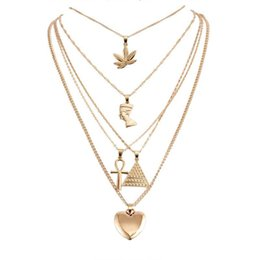 pharaoh chain pendant Australia - Hip Hop Rock Punk Sweater Chain Gold Necklace Egyptian Pharaoh Pyramid Heart Pendant Necklaces For Women Jewelry