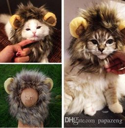 cute cat cosplay Canada - Wholesales Free shipping 2019 Cute Pet Costume Cosplay Lion Mane Wig Cap Hat for Cat Halloween Xmas Clot