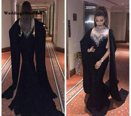 Wholesale Dubai Kaftan Long Sleeves Mermaid Black Evening Dress Beaded Crystal High Neck Red Abaya Kaftan Long Arabic Prom Dresses