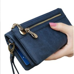 passport case women Australia - New Elegant Women Wallet Long Large Capacity Double Zipper Solid Women Phone Money Case Bag Coin Purse Card Ladies Clutch