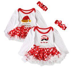 Body Tutu Australia - First Christmas Baby Rompers + Headband Santa Newborn body suits babywears Baby Romper tutu Dress Baby Girl Long sleeve