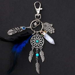 Wholesale Feather Dream Catcher Pendant Small Hanging Car Pendant Key Ring Decor Women Tassel Keychain Keyring Accessories WWA224