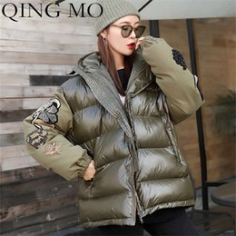 Green mo online shopping - QING MO Winter Women Embroidery Parka Solid Color Pattern Loose Thick Oversize Badge Stiching Army Green Hooded Women Coat QF178