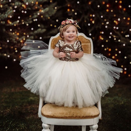 cheap green tutus Australia - Gold Flower Girls' Dresses Little Baby Infant Toddler Baptism Clothes With Tutu Tulle Bow Ball Gowns Birthday Party Cheap Custom Made