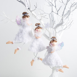 doll girl Australia - White Color Lovely Plush Angel Girl Christmas Pendant Doll Creative New Year Home Decorations Christmas Tree Decor Hangings Toys
