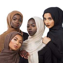 $enCountryForm.capitalKeyWord Australia - 180*100cm Women Cotton Linen Plain Wrinkle Hijab Scarf Muslim Muffler Fashion Long Shawls Head Wraps Pashmina 86 Colors