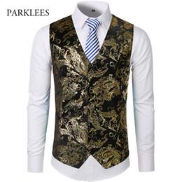 $enCountryForm.capitalKeyWord Australia - Gold Steampunk Vest Men Suit Gilet Homme Wedding Sleeveless Slim Fit Paisley Floral Dress Vests For Men Single Buttons Waistcoat MX190805