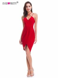 Short Sexy Pretty Dress UK - Red Sexy Cocktail Dresses 2019 Ever Pretty EP05797 Cheap Modern Backless Vestido Prata Vfemage Cocktail Short Party