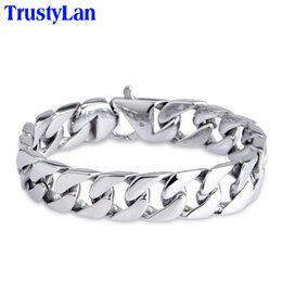 15mm handle online shopping - TrustyLan Glossy L Stainless Steel Link Chain Bracelet Men MM Wide Men s Bracelets Bangles Handle Fashion Male Jewelry