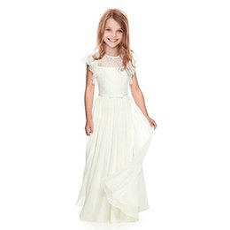 $enCountryForm.capitalKeyWord UK - Flower Girl Dresses Lace White ivory Girls Bridesmaid Gowns Party Wedding Prom Pageant First Communion Dresses Children Clothing J190612