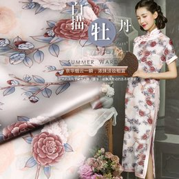 $enCountryForm.capitalKeyWord Australia - Beautiful Peony Flower Print Mulberry Silk Fabric Elastic Cheongsam Material Vintage Dress Material Width 46 Inch