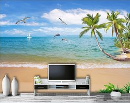 beach wallpaper for home Australia - WDBH 3d wallpaper custom photo Summer seascape scenery coconut palm beach room home decor 3d wall murals wallpaper for walls 3 d living ro