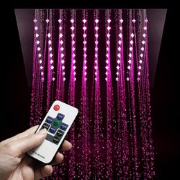 Wholesale Remote Control LED Light Shower Head Rainfall mm Showerheads Embedded Ceiling Mounted Shower Bathroom Polished Showers
