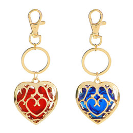 Plastic Red Heart Australia - Game The Legend of Zelda Alloy Keychain Blue Red Gems Stone Hollow Heart Pendant Keyring Fashion Crystal Rhinestone Metal Key Chain