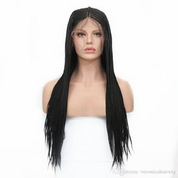 AfricAn brAided wigs online shopping - Natural Black Micro Braids Synthetic Lace Front Wig with Baby Hair Braiding Styles Synthetic African Hair Box Braided Wigs for Women Inch
