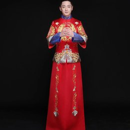 fc828d0bb Chinese style groom wedding long gown tang suit male suit costume show  pratensis dragon gown chinese tunic men's formal