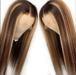 $enCountryForm.capitalKeyWord Australia - Ombre Highlight Lace Front Wig Middle Part Silky Straight Ombre Color 10A Grade Brazilian Virgin Human Hair Full Lace Wigs for Black Women