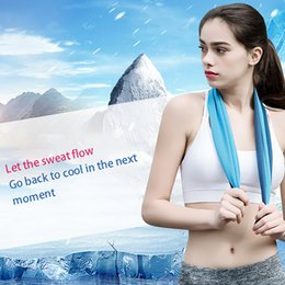 instant hair Australia - Double Layer Ice Cooling Towel Cool Summer Cold Sports Towels Instant Cool Dry Scarf Soft Breathable Ice Belt Towel for Adult Kids