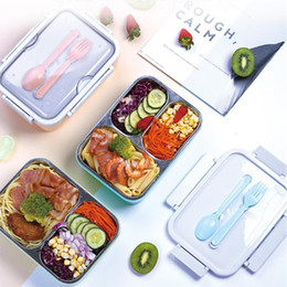 Portable Bento Boxes Student 3 Grids Lunch Box Fully Sealed Food 2 Grids Lunch Box Thermal Lunch Boxes with Fork and Spoon CCA12167 36pcsN on Sale