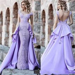$enCountryForm.capitalKeyWord NZ - 2019 Elegant Lilac Evening Dresses with Detachable Lace Overskirt Train saudi arabia Special Occasion Dress Turkey Prom Gowns Party Wear
