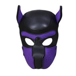 Discount couple sex dog 2019 Sexy Bondage Hook Fetish Zipper Mouth Dog Mask Sex Toys For Woman Couples Restraints Adult Games PU Leather Hood Mask Z668