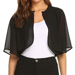 34f1bb71f0422 Women's Summer Blouse Short Sleeve Sheer Open Front Chiffon Shrug Cardigan  Top bluzki damskie Haut Femme
