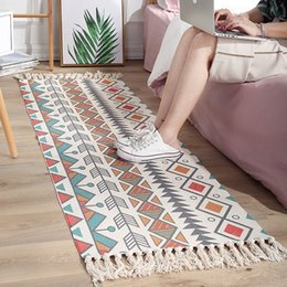cotton floor mats NZ - Ethnic Carpet Kitchen Mats For Floor Long Strip Geometric Kilim Carpets Nordic Bedroom Rug Cotton Oriental Decor Tapestry SH190925