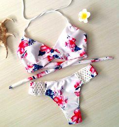 $enCountryForm.capitalKeyWord Australia - 2017 White Sexy Flower Print Bikini Women Patchwork Swimsuit Brazelle Style 2 Pieces Set Bikinis For Women