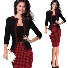 $enCountryForm.capitalKeyWord Australia - Hgte Womens Autumn Retro Faux Jacket One-piece Polka Dot Contrast Patchwork Wear To Work Office Business Sheath Dress Y19052901