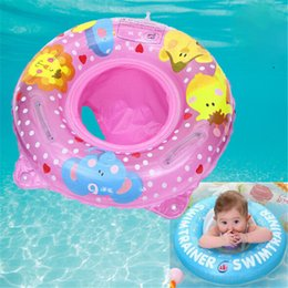 swim toys for kids NZ - Double Handle Safety Baby Seat Float Swim Ring Inflatable Infant Kids Swimming Pool Rings Water Toys Swim Circle For Kids