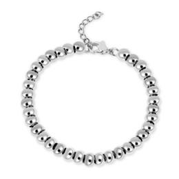 custom bezel wholesale 2019 - Gold Color Filled Stainless Steel Ball Beads Bracelets Women Men Jewelry 4 6 8mm Beaded Strand Bracelets Custom Wholesal
