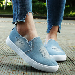 $enCountryForm.capitalKeyWord Australia - Fashion Denim Canvas Shoes Women Flats Casual Platform Sneakers Breathable Footwear Classic Loafers A Pedal Lazy Shoes Jeans