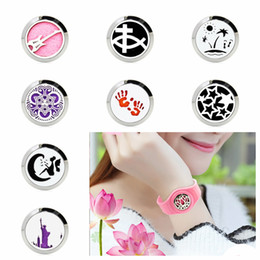 silver diffuser locket Australia - B3 25mm Diffuser Locket Watch Silicone Bracelet Magnetic Stainless Steel Aromatherapy Perfume Locket Bangle 10pcs Pads