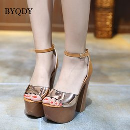 shining patent leather shoes Australia - BYQDY Women Shining Champagne Patent Mirror Leather Chunky Heel Gladiator Shoes Sexy Buckles Straps High Heel Cover Heels Sandal