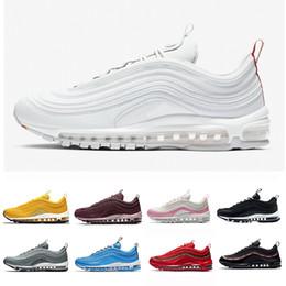 Nike Air Max 97 2019 OG QS Tripel Blanco Negro Metálico Oro Plata Bullet PRM WHITE 3M Premium Hombres Zapatos Para Hombres Mujeres ShopPobs en venta