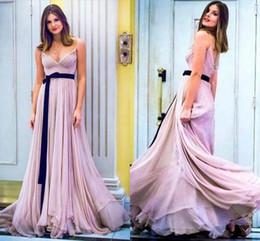 $enCountryForm.capitalKeyWord Australia - Sexy Navy Ribbon Lilac Chiffon Cheap Bridesmaid Dresses V neck with Spaghetti Straps Backless Pleated Wedding Party Prom Bridesmaids Dress