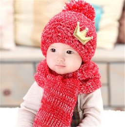 Wholesale New Crown Girl Boy Baby Winter Knitted Beanie Hat And Scarf Set Toddler Kids Warm Balaclava Cap Outdoor Skiing Sports Scarf Sets