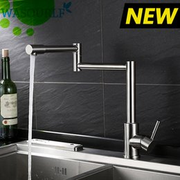 Control valves types online shopping - WASOURLF Adjustable kitchen faucet stainless steel tap durable valve hot and cold single handle high quality guarantee