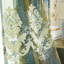 $enCountryForm.capitalKeyWord Australia - European style living room bedroom curtain noble blue green chenille embroidery curtains custom finished fabric specials