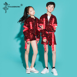 Wholesale red jazz costumes resale online - Children Jazz Dance Costumes For Girls Boy Sequin hip hop Dance Jazz Kids Street Competitions Performance Stage Clothing