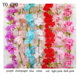 Chinese  YO CHO Artificial Cherry Blossom Vine Rattan Flower Vine Hanging Plants 220CM Cherry Blossom Rattan DIY Home Garden Wall Fence Decoration manufacturers